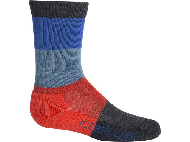 Icebreaker Hike Light Crew Macro Stripe Socks Barn Jet Heather/Chili Red